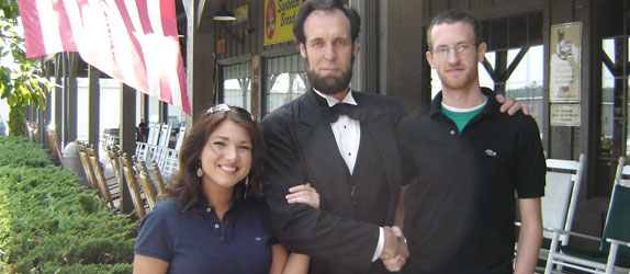 Photo shoot with Abraham Lincoln